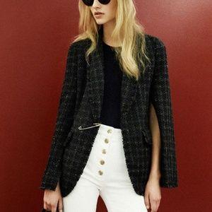 Sonia Rykiel Fringed Tweed Cape Blazer Jacket